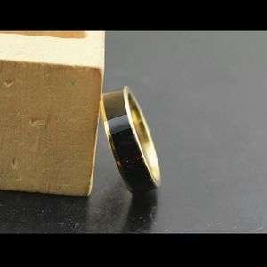 Unisex Stainless Steel and Gold Band Ring